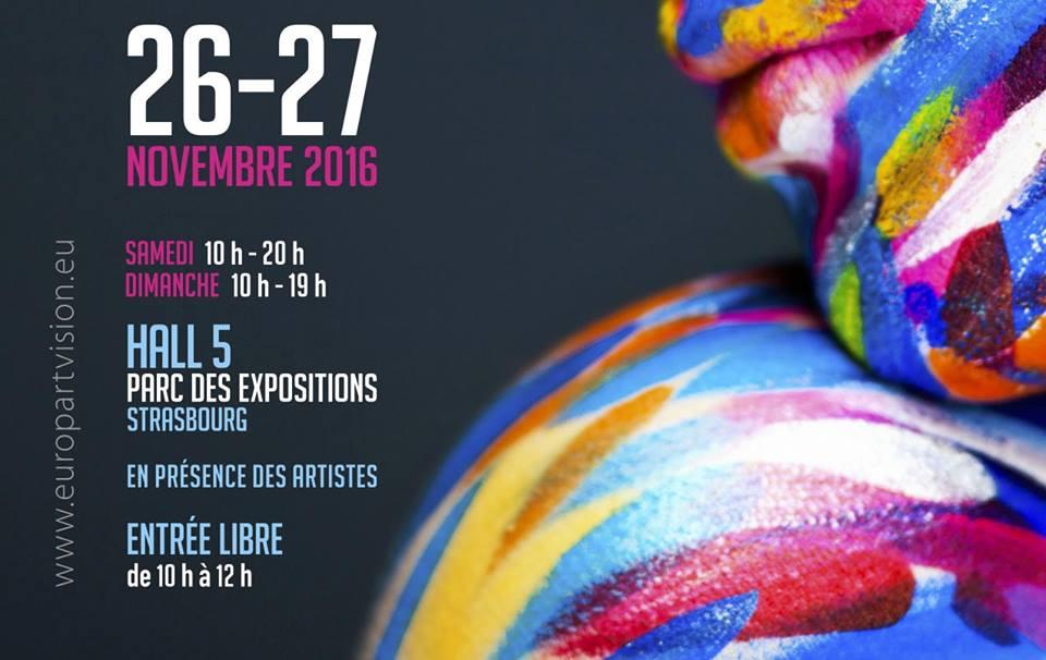 Troisième STR'OFF, exposition « À bout de sens », un événement éclectique et interactif en présence des artistes !  Après Première STR'OFF en 2014 « Itinéraire des sens » et Deuxième STR'OFF en 2015 « Dans tous les sens », EuropARTvision organise à Strasbourg le dernier volet de sa trilogie : « Nos sens dessus dessous » en résonance avec ST-ART (Foire d'Art Contemporain de Strasbourg)